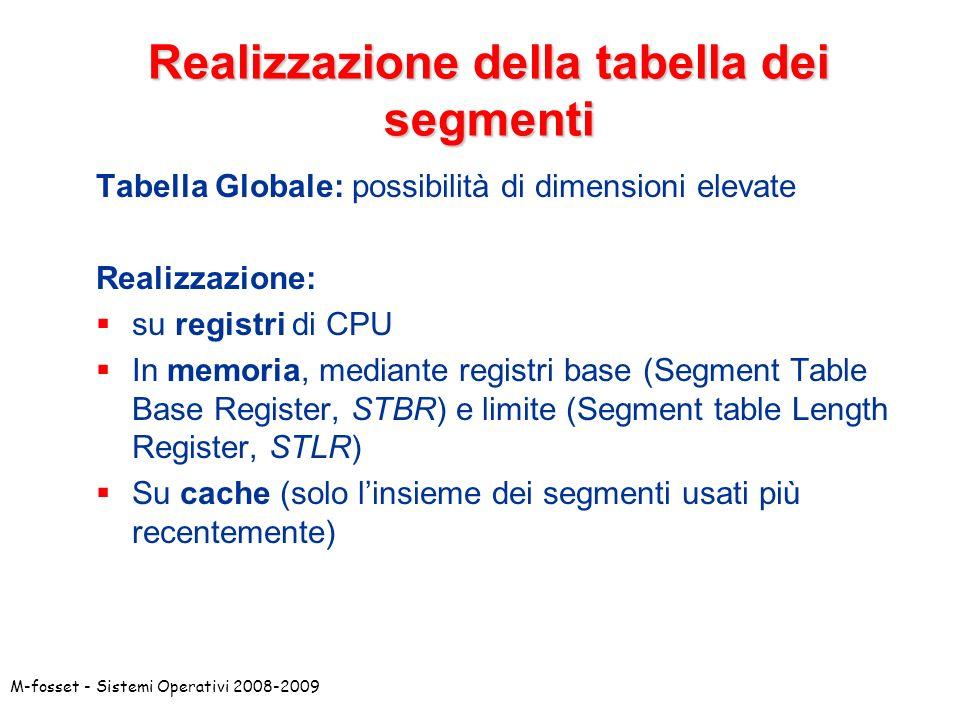 Realizzazione della tabella dei segmenti