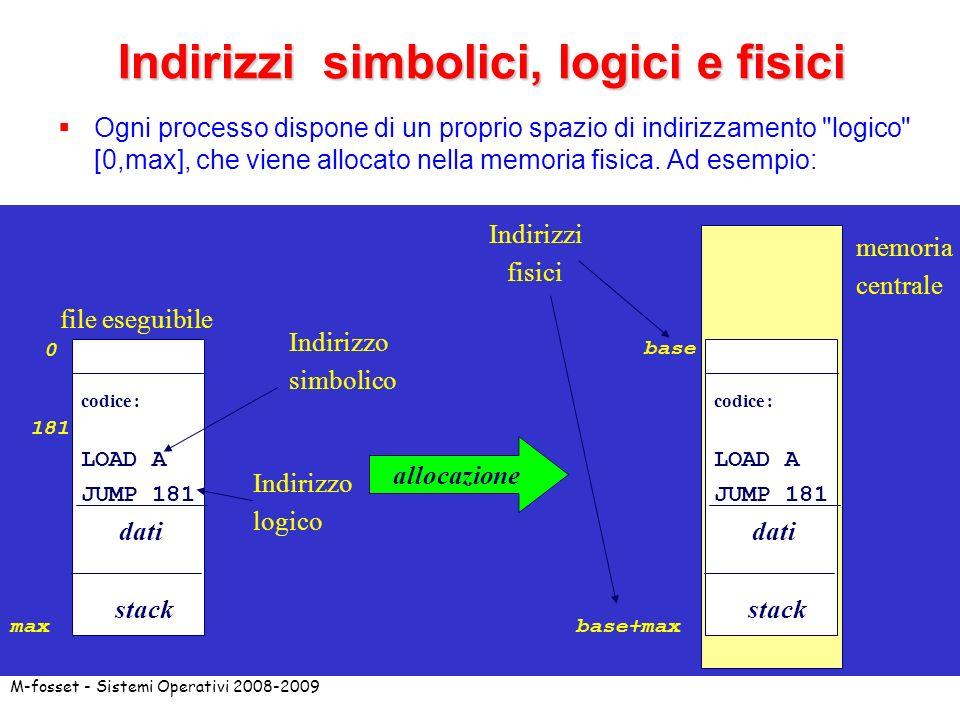 Indirizzi simbolici, logici e fisici