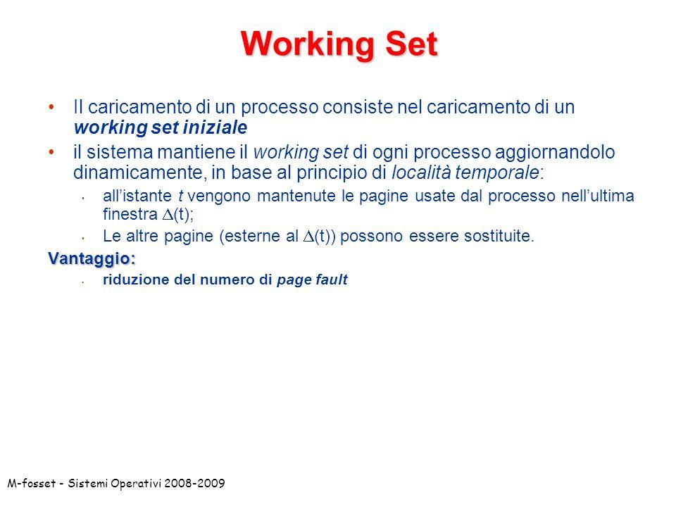 Working Set Il caricamento di un processo consiste nel caricamento di un working set iniziale.
