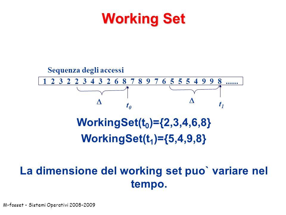 La dimensione del working set puo` variare nel tempo.