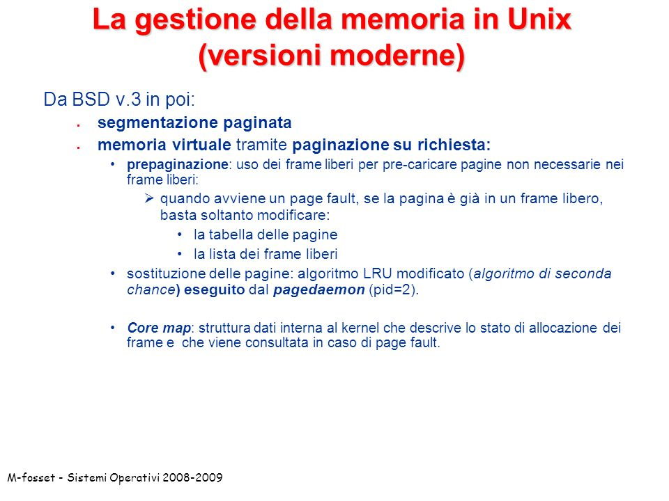 La gestione della memoria in Unix (versioni moderne)