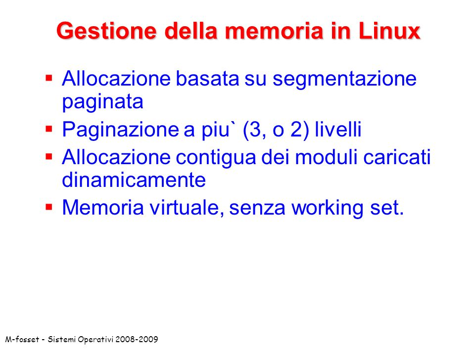 Gestione della memoria in Linux