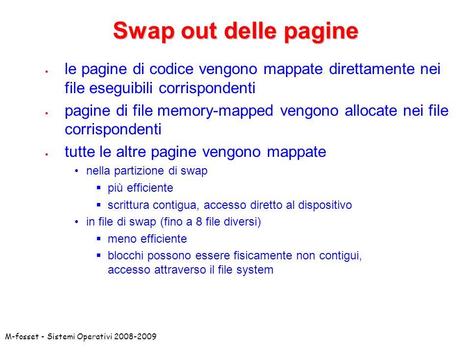 Swap out delle pagine le pagine di codice vengono mappate direttamente nei file eseguibili corrispondenti.