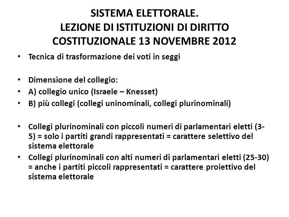 SISTEMA ELETTORALE. LEZIONE DI ISTITUZIONI DI DIRITTO COSTITUZIONALE 13 NOVEMBRE 2012