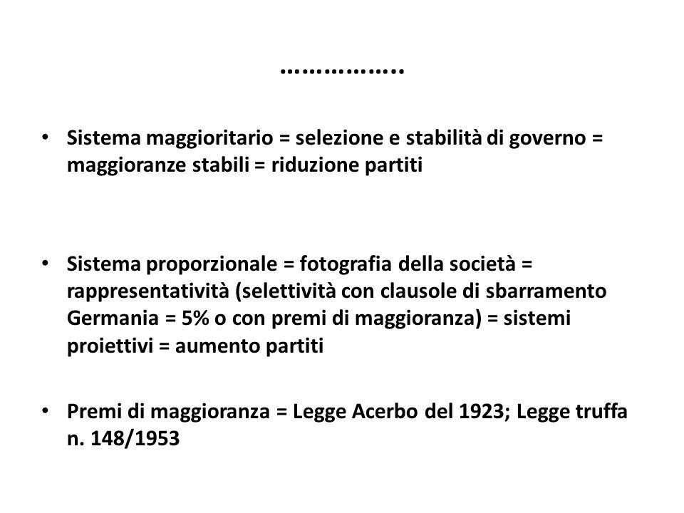 …………….. Sistema maggioritario = selezione e stabilità di governo = maggioranze stabili = riduzione partiti.