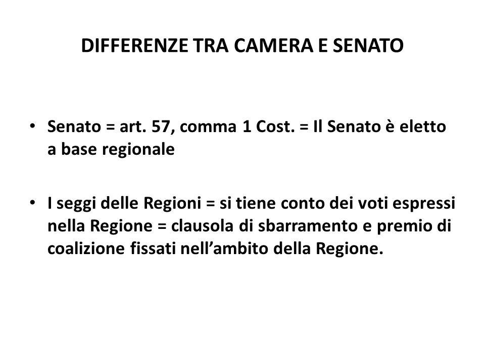 DIFFERENZE TRA CAMERA E SENATO