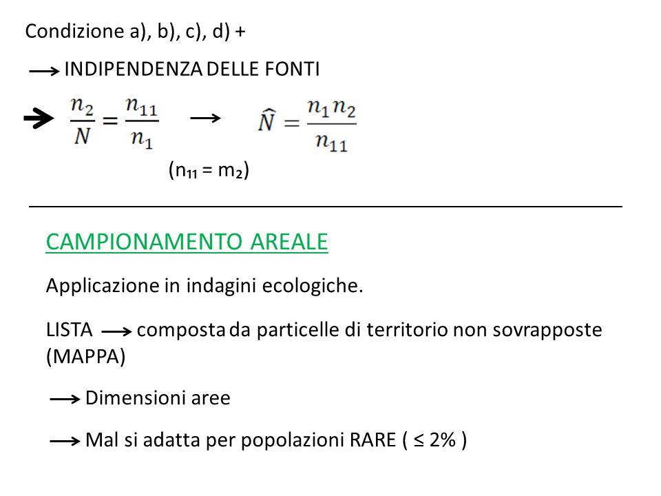 CAMPIONAMENTO AREALE Condizione a), b), c), d) +