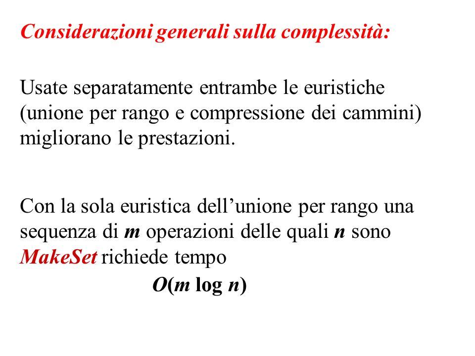 Considerazioni generali sulla complessità: