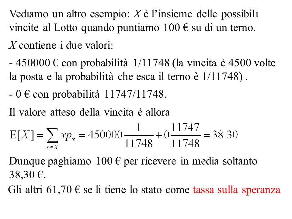 Vediamo un altro esempio: X è l'insieme delle possibili vincite al Lotto quando puntiamo 100 € su di un terno.
