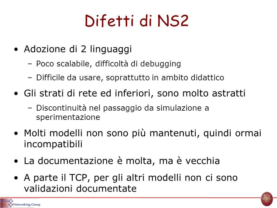 Difetti di NS2 Adozione di 2 linguaggi