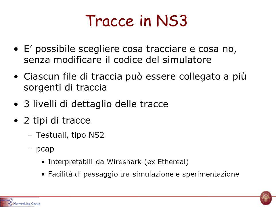 Tracce in NS3 E' possibile scegliere cosa tracciare e cosa no, senza modificare il codice del simulatore.