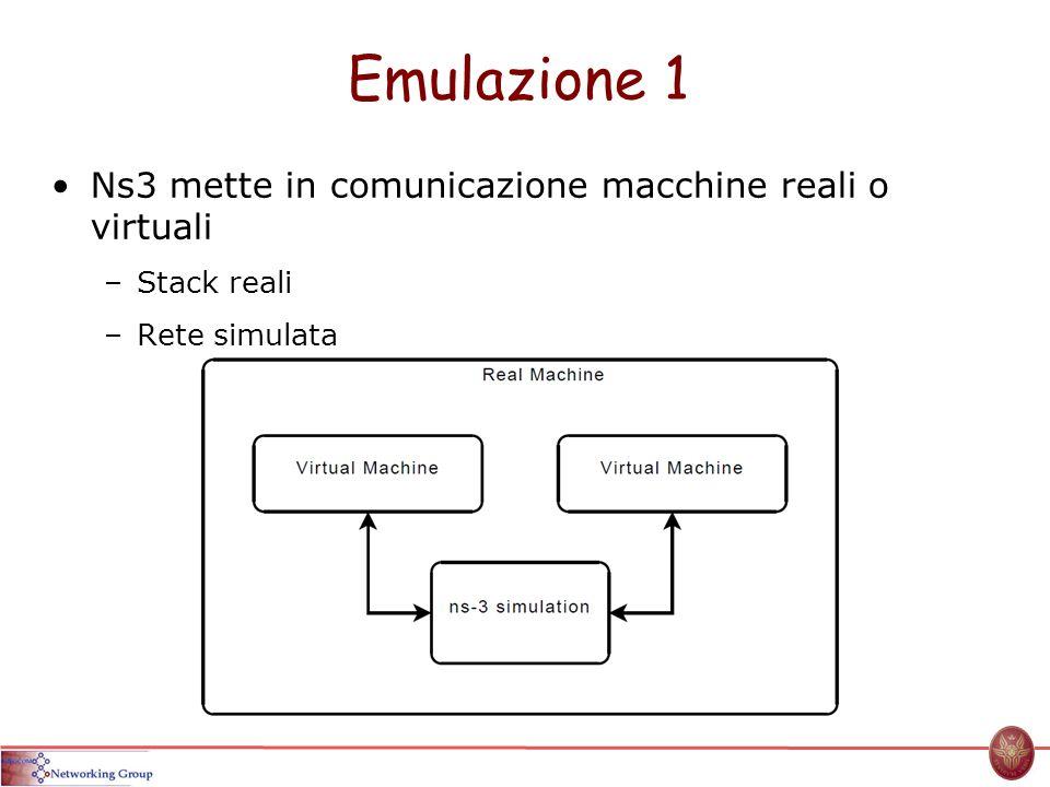 Emulazione 1 Ns3 mette in comunicazione macchine reali o virtuali