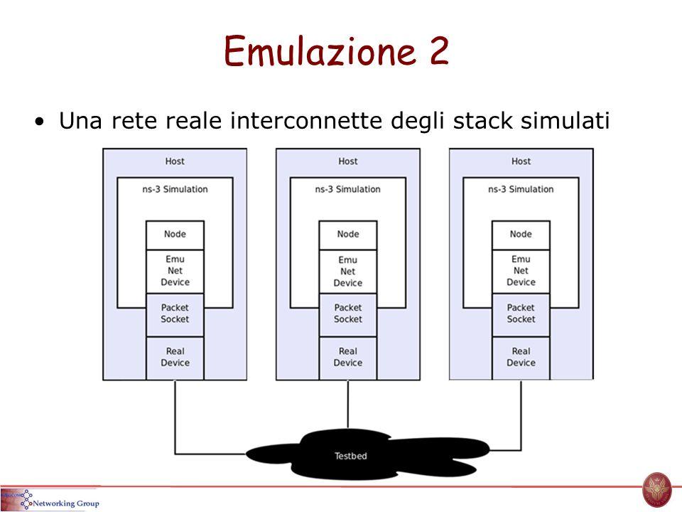 Emulazione 2 Una rete reale interconnette degli stack simulati