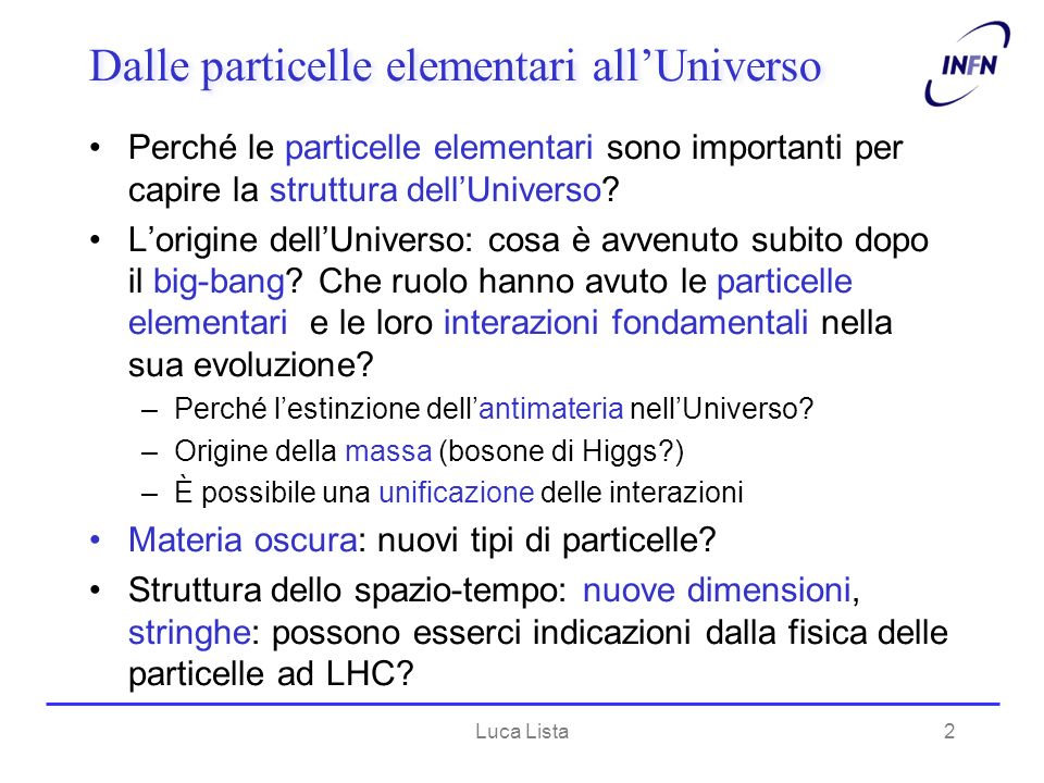 Dalle particelle elementari all'Universo