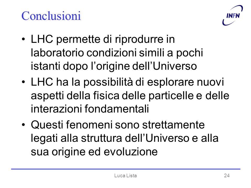 Conclusioni LHC permette di riprodurre in laboratorio condizioni simili a pochi istanti dopo l'origine dell'Universo.