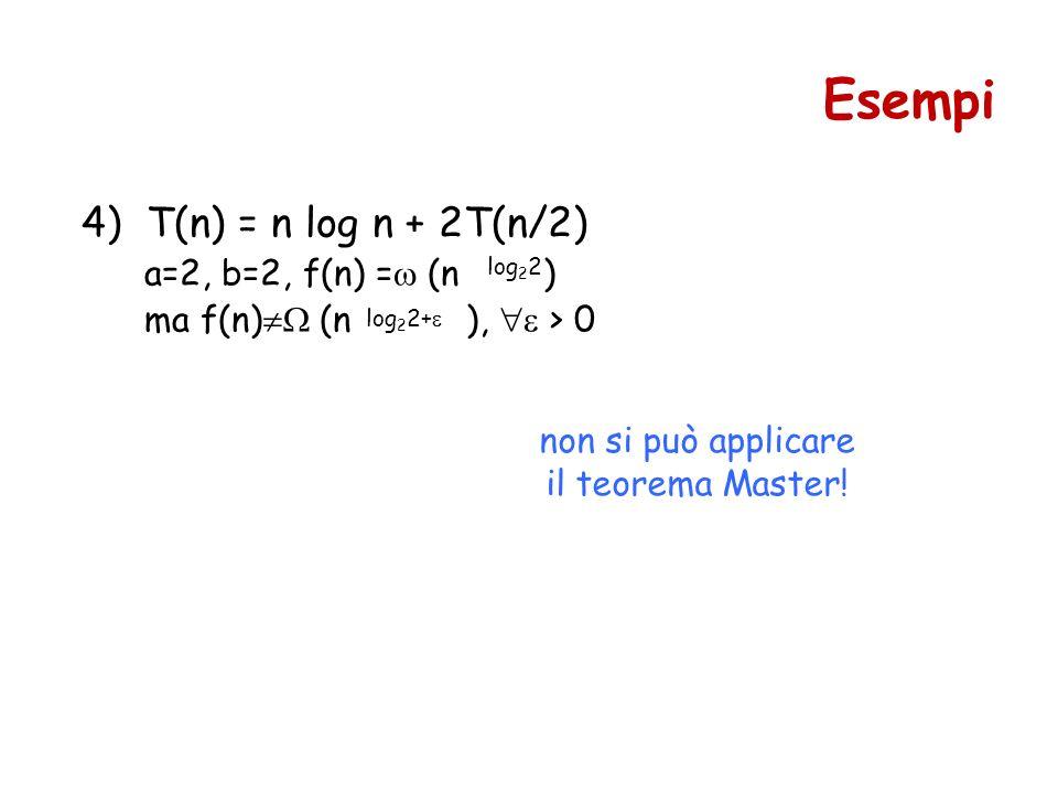 Esempi 4) T(n) = n log n + 2T(n/2) a=2, b=2, f(n) = (n )