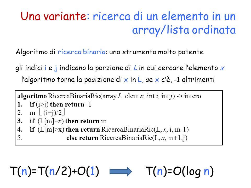 Una variante: ricerca di un elemento in un array/lista ordinata