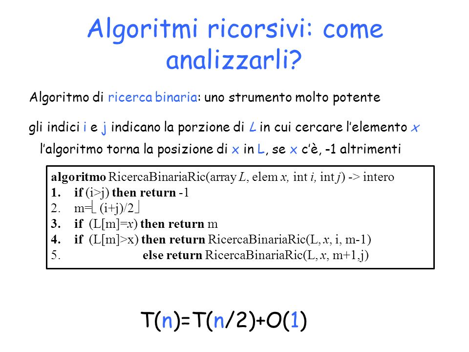 Algoritmi ricorsivi: come analizzarli