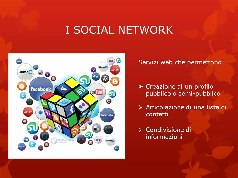 I SOCIAL NETWORK Servizi web che permettono: