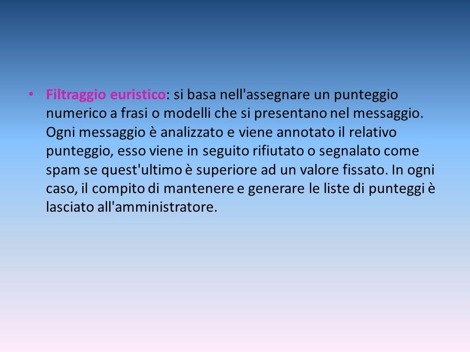 Filtraggio euristico: si basa nell assegnare un punteggio numerico a frasi o modelli che si presentano nel messaggio.