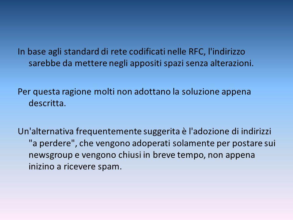 In base agli standard di rete codificati nelle RFC, l indirizzo sarebbe da mettere negli appositi spazi senza alterazioni.