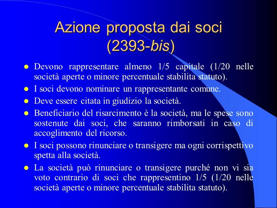Azione proposta dai soci (2393-bis)
