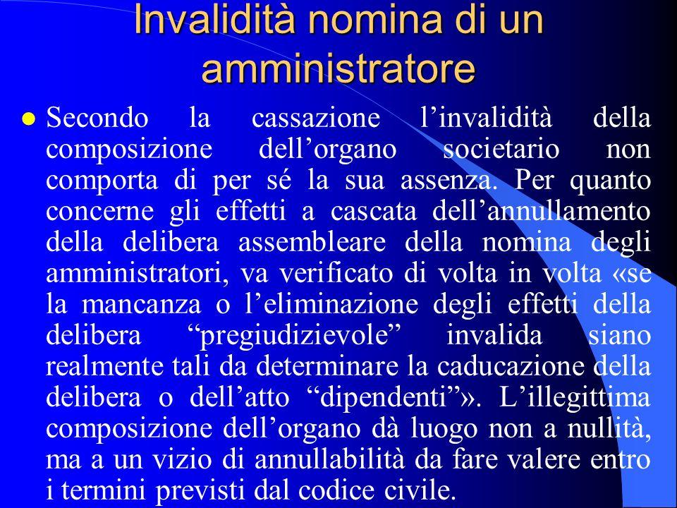 Invalidità nomina di un amministratore