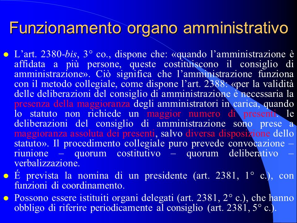 Funzionamento organo amministrativo
