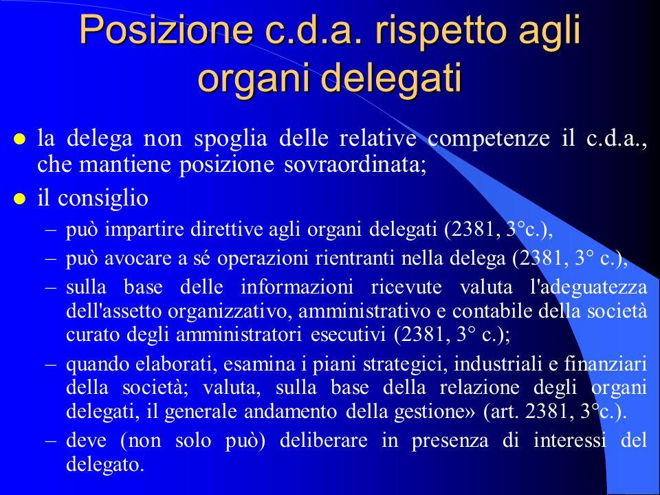 Posizione c.d.a. rispetto agli organi delegati