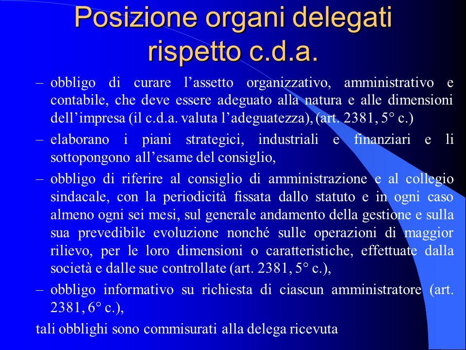 Posizione organi delegati rispetto c.d.a.