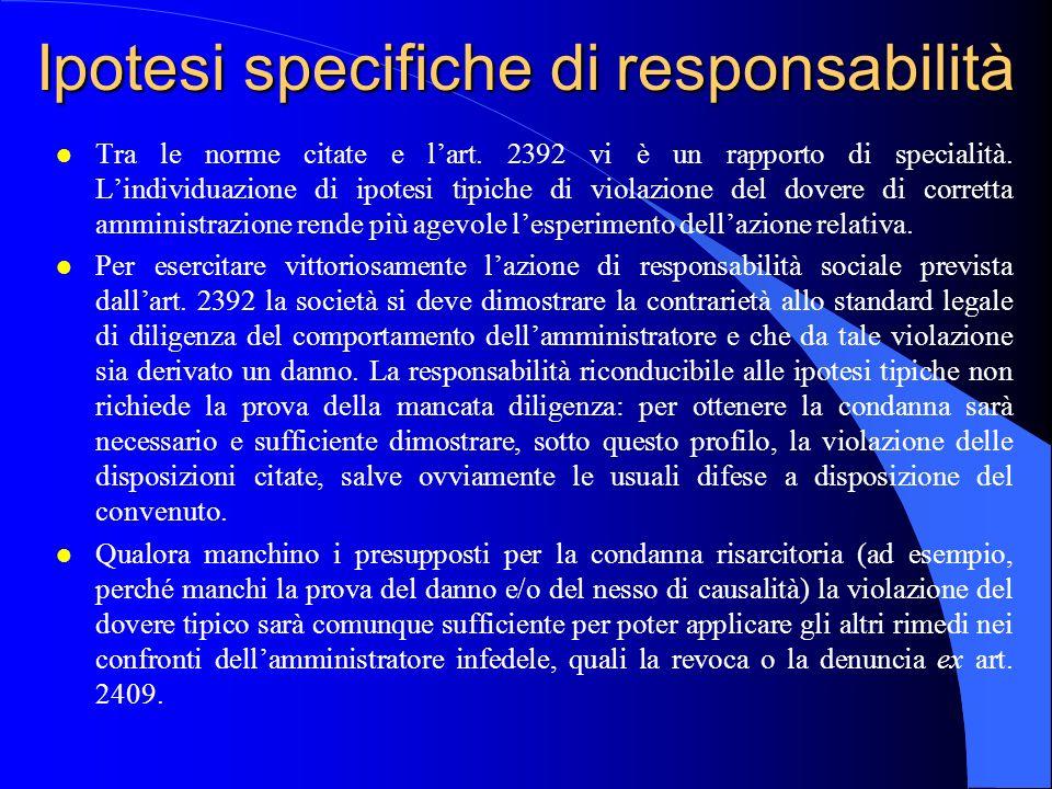 Ipotesi specifiche di responsabilità