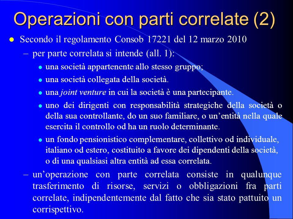 Operazioni con parti correlate (2)