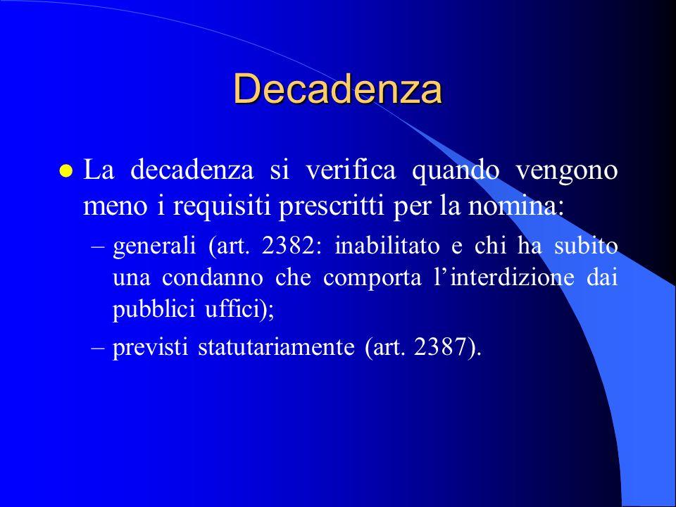29/03/2017 Decadenza. La decadenza si verifica quando vengono meno i requisiti prescritti per la nomina: