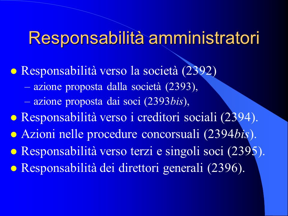 Responsabilità amministratori