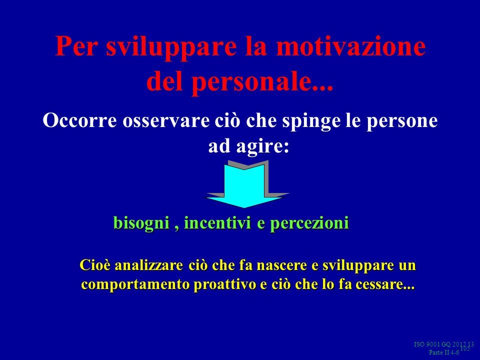 Per sviluppare la motivazione del personale...