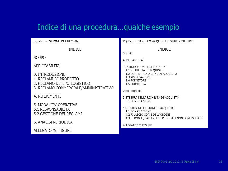 Indice di una procedura…qualche esempio