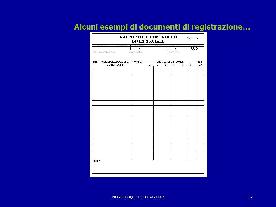 Alcuni esempi di documenti di registrazione…