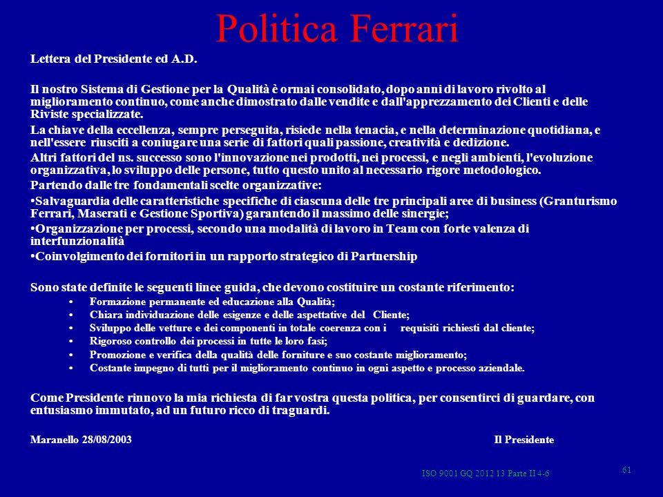 Politica Ferrari Lettera del Presidente ed A.D.