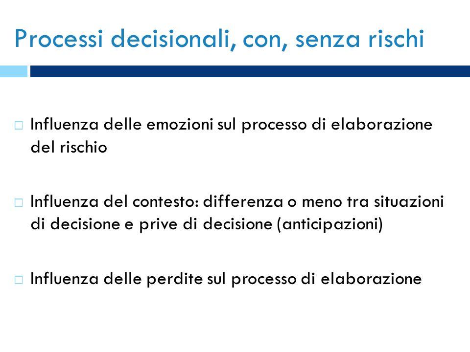 Processi decisionali, con, senza rischi