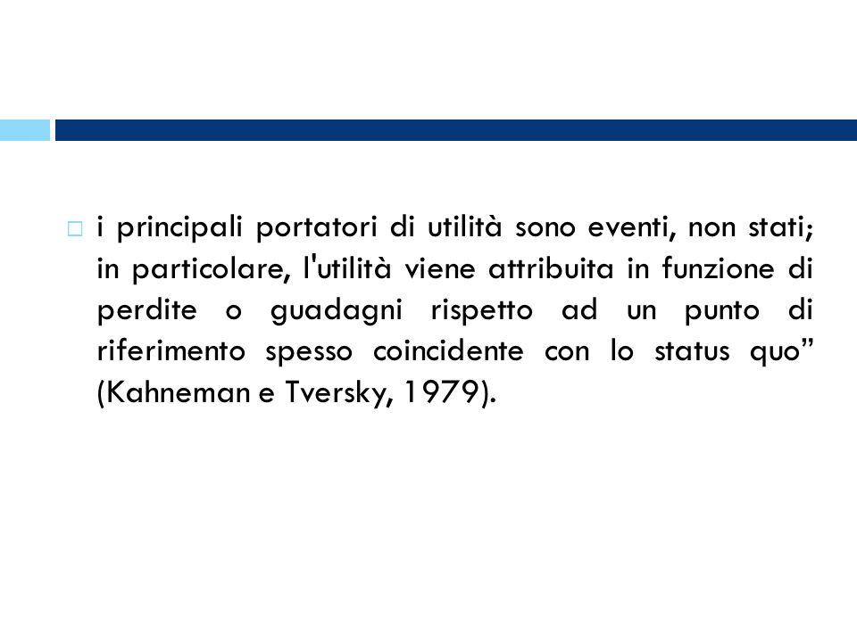 i principali portatori di utilità sono eventi, non stati; in particolare, l utilità viene attribuita in funzione di perdite o guadagni rispetto ad un punto di riferimento spesso coincidente con lo status quo (Kahneman e Tversky, 1979).