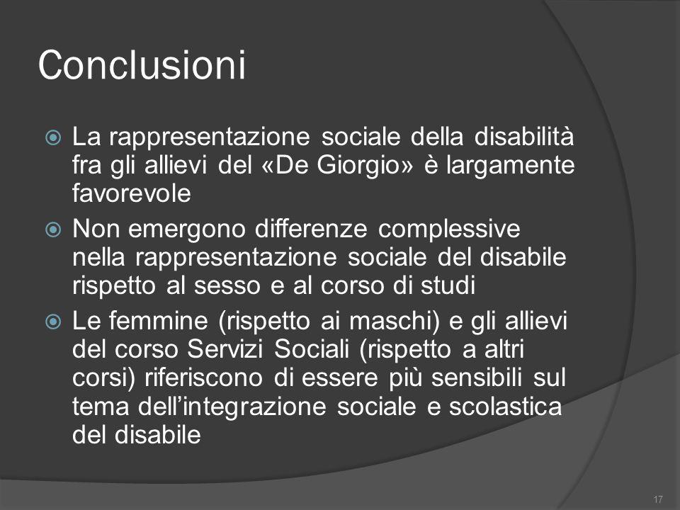 Conclusioni La rappresentazione sociale della disabilità fra gli allievi del «De Giorgio» è largamente favorevole.