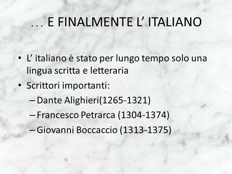 … E FINALMENTE L' ITALIANO