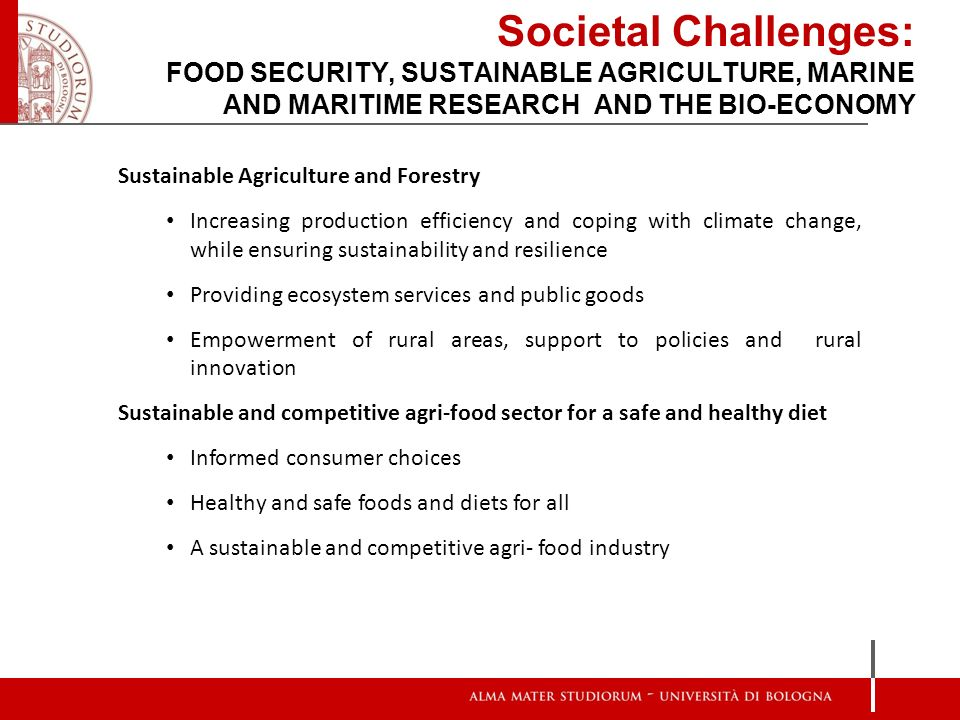 Societal Challenges: FOOD SECURITY, SUSTAINABLE AGRICULTURE, MARINE AND MARITIME RESEARCH AND THE BIO-ECONOMY