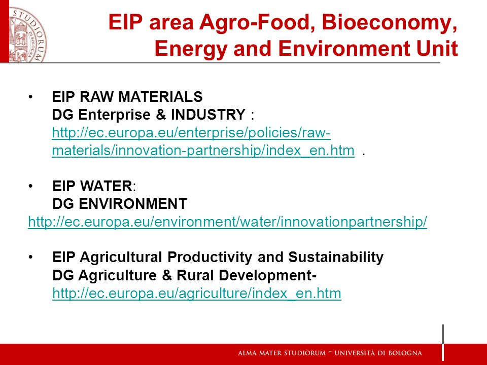 EIP area Agro-Food, Bioeconomy, Energy and Environment Unit