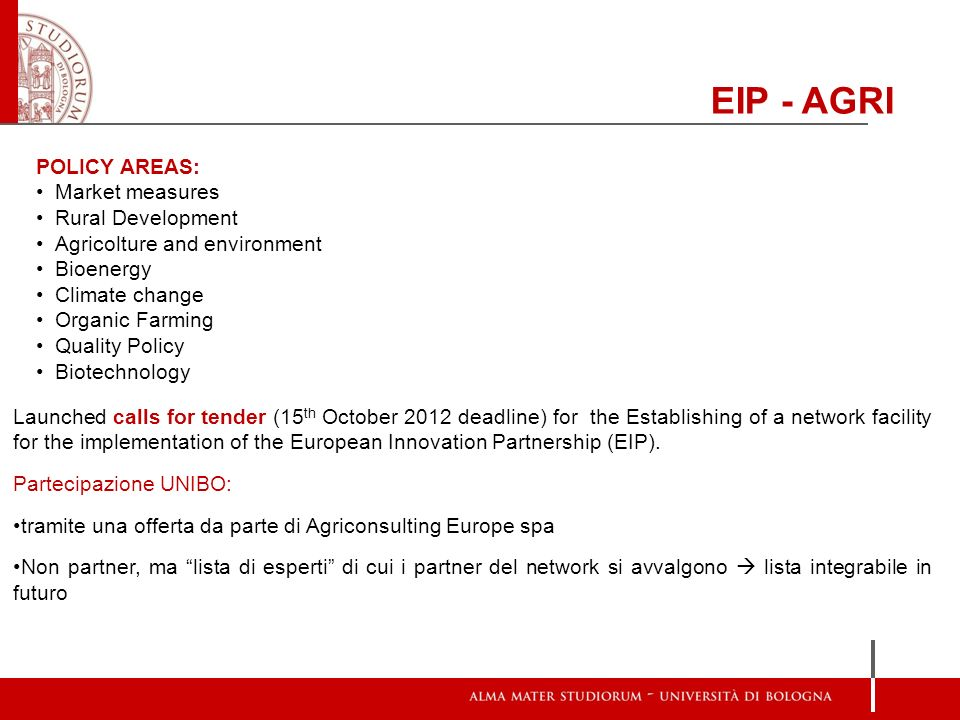 EIP - AGRI POLICY AREAS: Market measures Rural Development
