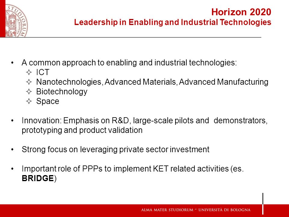Horizon 2020 Leadership in Enabling and Industrial Technologies