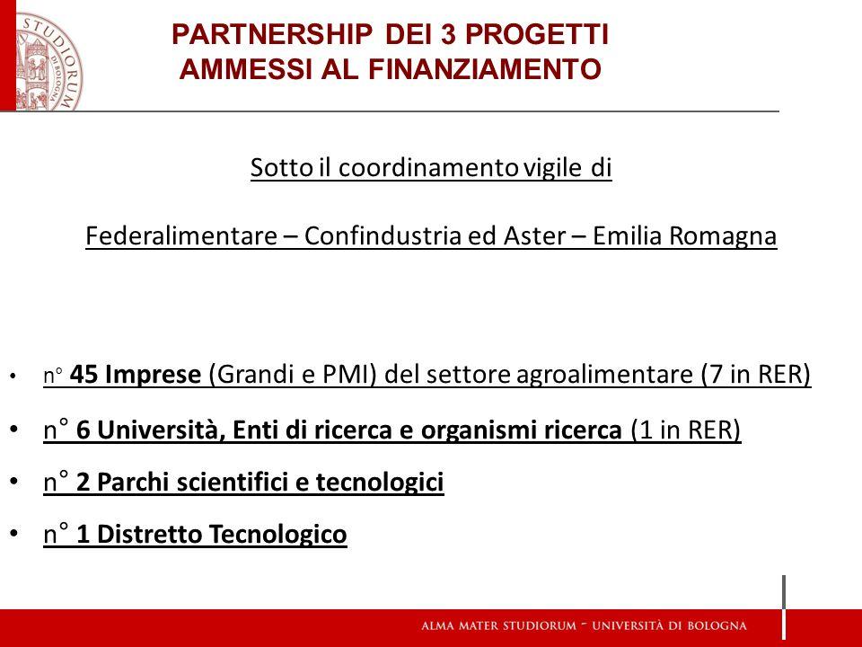 PARTNERSHIP DEI 3 PROGETTI AMMESSI AL FINANZIAMENTO