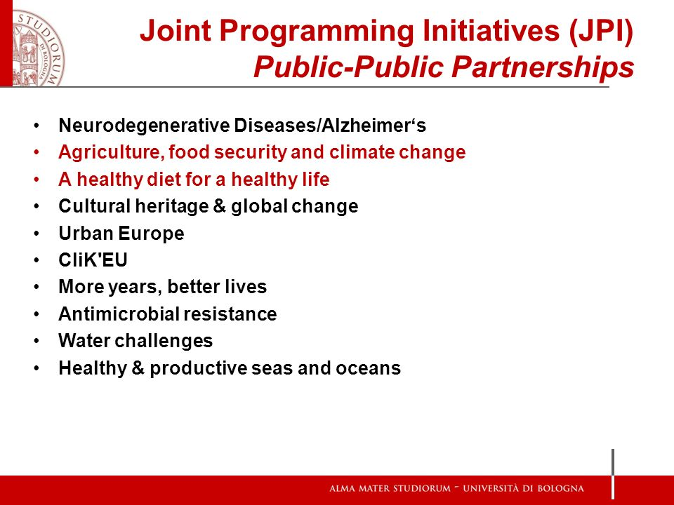 Joint Programming Initiatives (JPI) Public-Public Partnerships