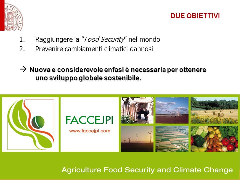 DUE OBIETTIVI Raggiungere la Food Security nel mondo. Prevenire cambiamenti climatici dannosi.