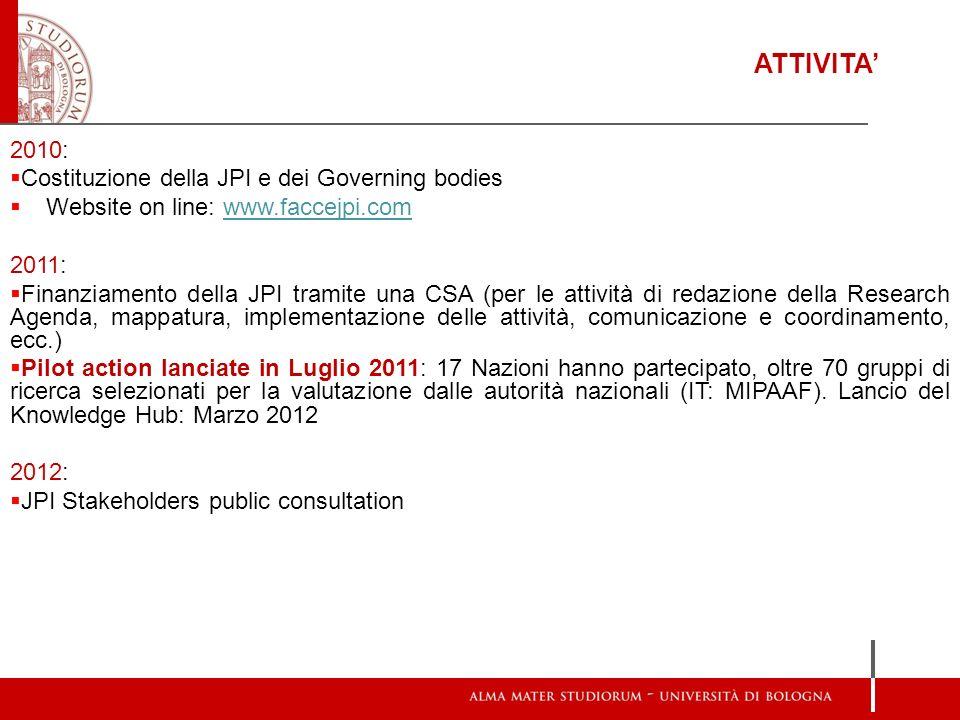 ATTIVITA' 2010: Costituzione della JPI e dei Governing bodies